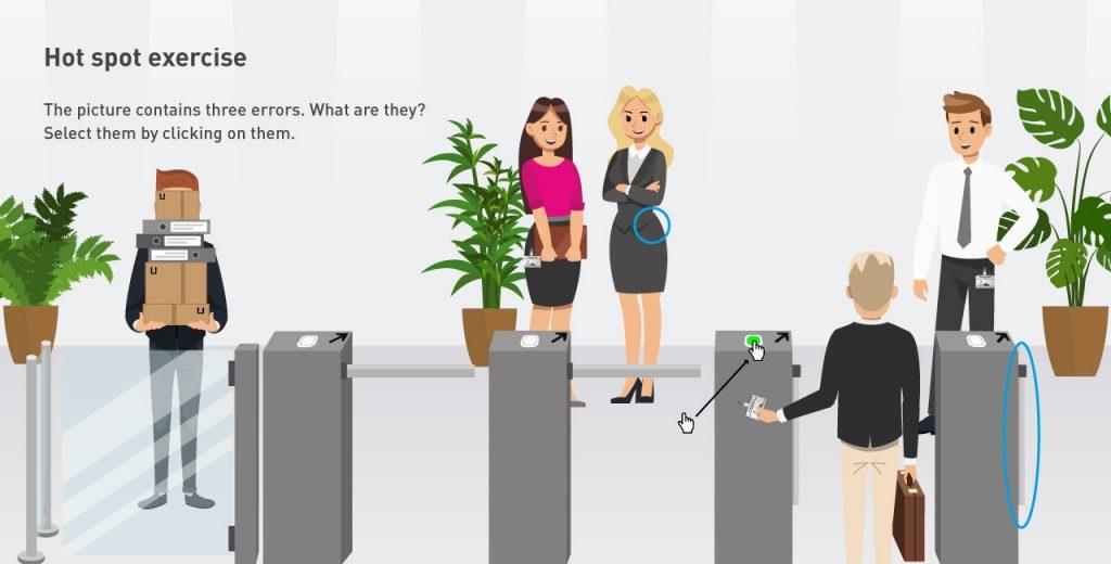 Hot spot exercise e-learning