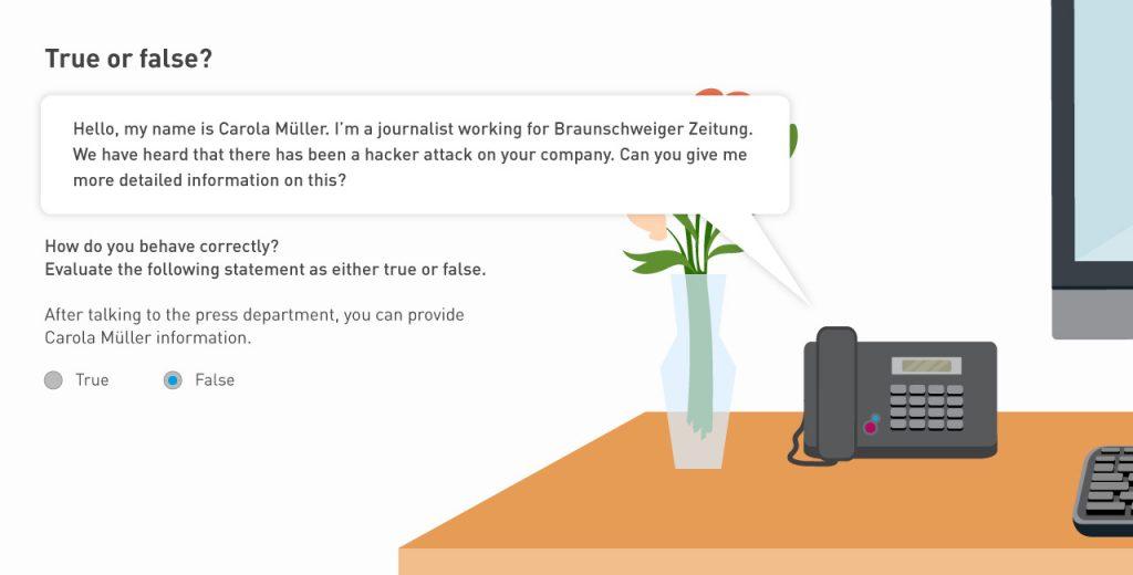 True/False quiz e-learning